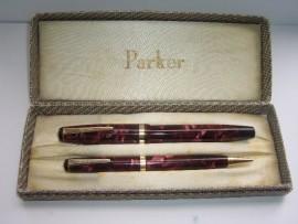 PARKER CHALLENGER SET RED MARBLE 1940