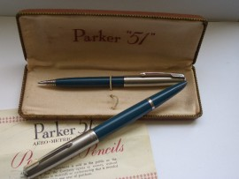 PARKER 51 CLASSIC SET TEAL BLUE 1950s