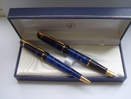 WATERMAN PHILEAS SET BLUE MARBLE MINT!